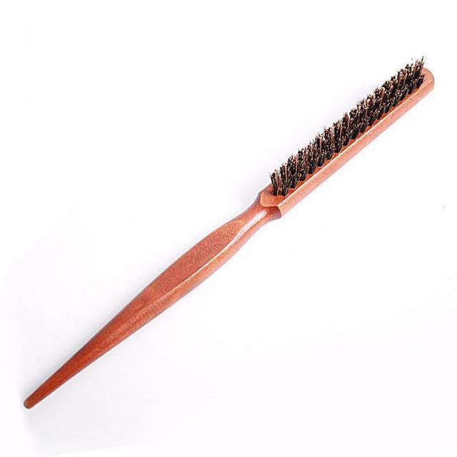Compact Head Massaging Wooden Hair Brush