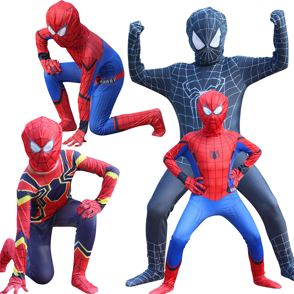High Quality boys kids Halloween Iron Spiderman costume Lycra zentai Hero Theme Costume cosplay Full Body Suit