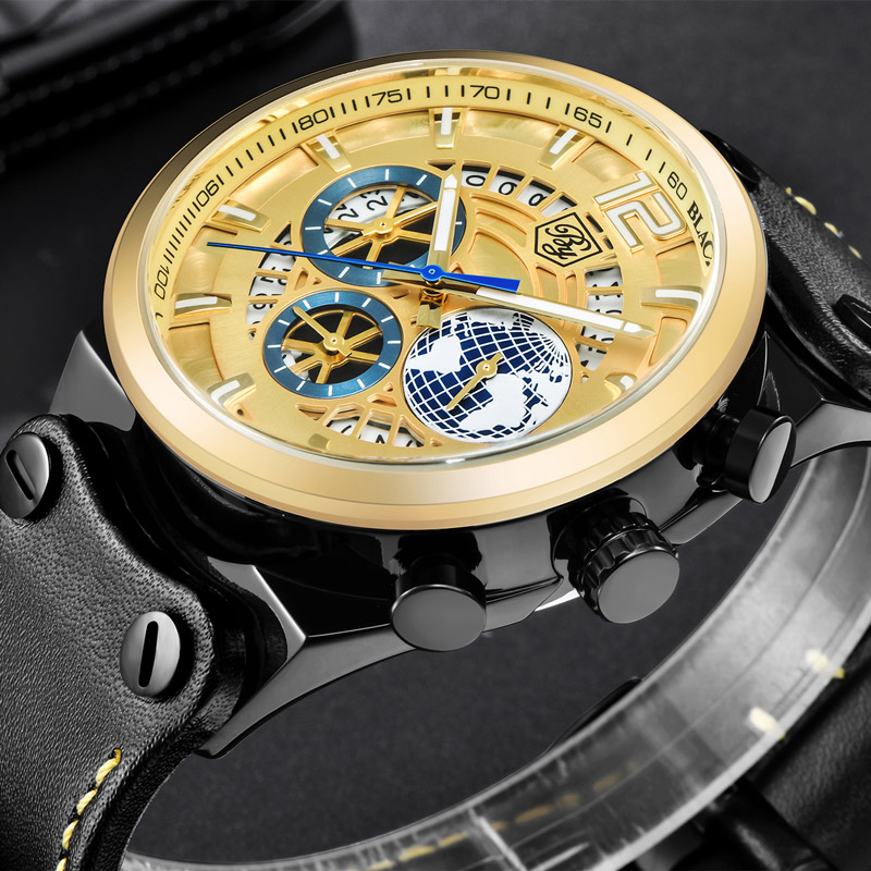 Benyar Men's Watches Waterproof Clock Luxury Brand Quartz Watch Men Date Clock Skeleton Stop Watches Man Relogio Masculio 2018