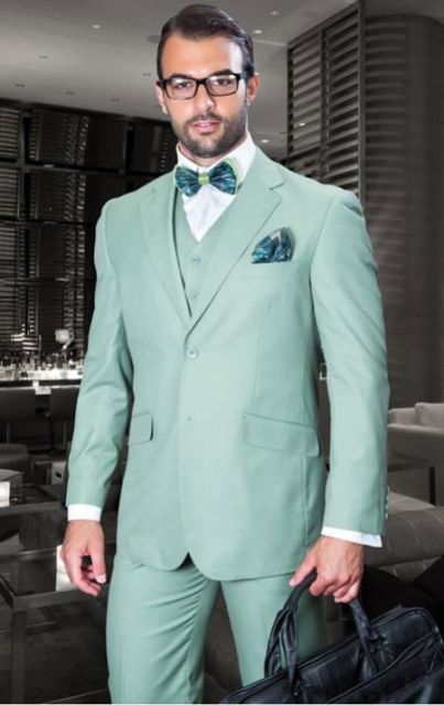 2017 Latest Coat Pant Designs Mint Green Wedding Men Suits Slim Fit ...