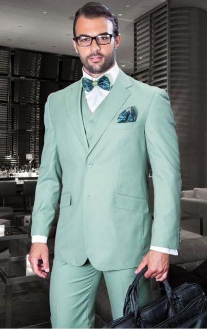 2017 Pantalones verde menta boda hombres Trajes slim fit 3 unidades prom  smoking traje chaqueta novio ee5e5f3234c
