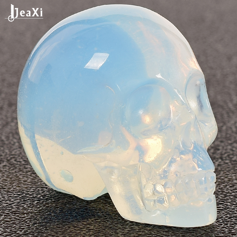 1 Pcs 2 Inch Handmade Opalite Crystal Carved Skull Statue Realistic Feng Shui Healing Ability Of The Stone Home Ornament