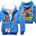 2016 Cotton Winter Casual Coat Cartoon Character Patrol Children Warm Hooded Jackets Blue Red Kids Boys Thick Outerwear Clothes