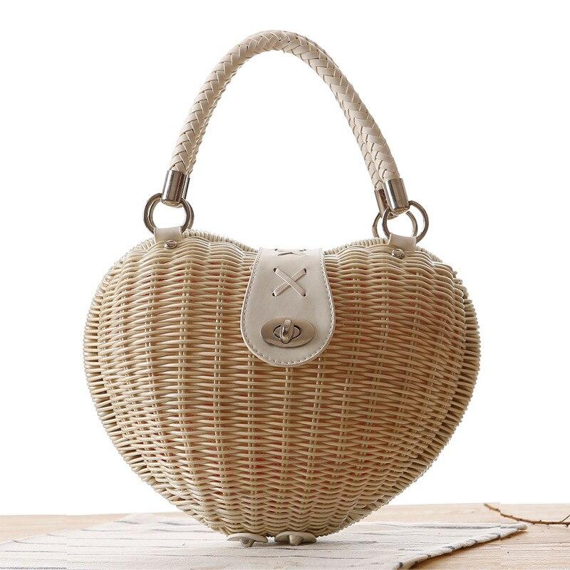 Новый 2018 японский Стиль сердце из ротанга сумка ручной работы модная соломенная сумка Высокое качество стеганая сумка для девочек Белый Кр...