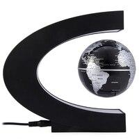 Novelty C Shape Night Light LED World Map Floating Globe Magnetic Levitation Light Birthday Gift Home