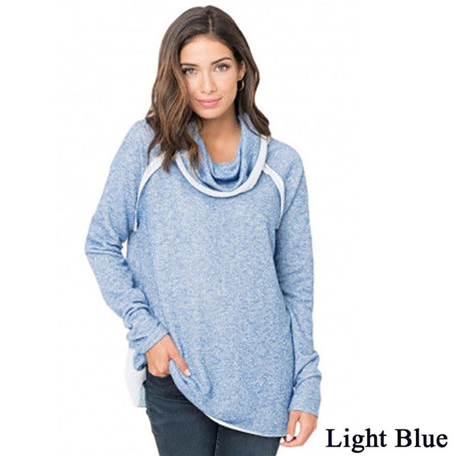 Women Autumn Winter Cowl Neck Hoodie Sweatshirt Long Sleeve Solid Color  Loose Comfy Jumper Pullover Sweatshirts 5ebd7612f2