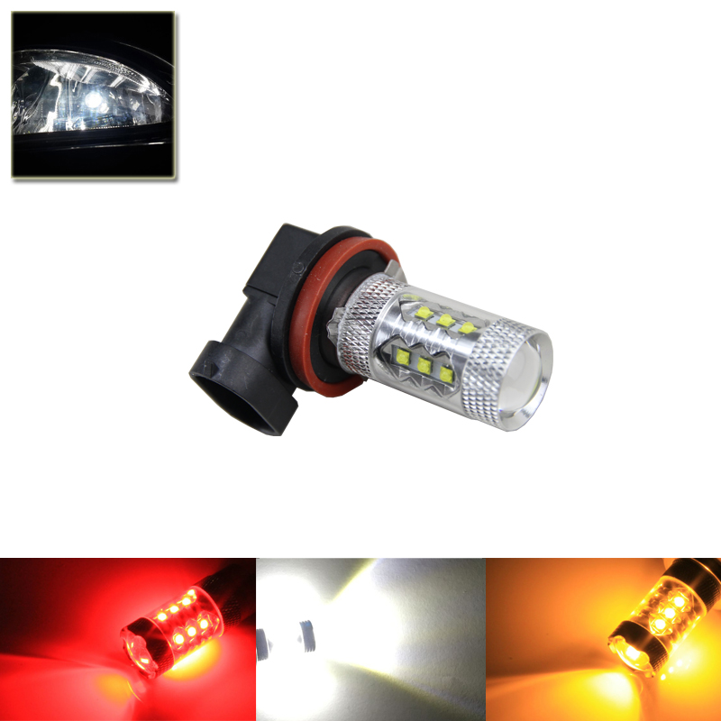 One Piece H8 PGJ19-1 / H9 PGJ19-5 / H11 PGJ19-2 80W Cree Chips High Power Led Light Bulbs For Car DRL Driving Fog Lamps White