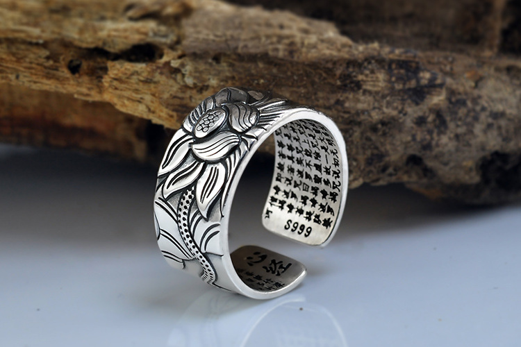 925 Silver Lotus Rings Good Luck Buddha Adjustable Size Trendy Popular S925 Solid Thai Silver Ring for Women Men Jewelry 15