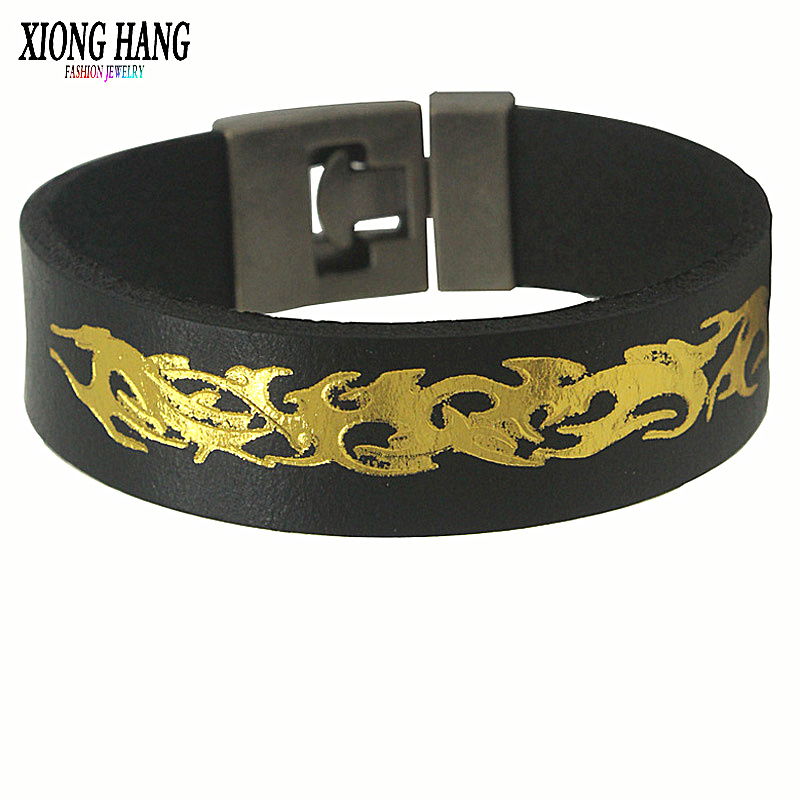 Xiong Hang 2 Color Good Wide Leather Bracelets Chinese Dragon Totem Charm Cuff Black Coffee Bracelets