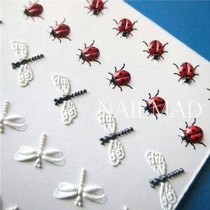 Image 4 - Adesivo em acrílico 3d de abelha, gravado, unha de lótus, em relevo, rosa, flor de água, decalques empaísticos, escorregador de água, moda, 1 peça unhas
