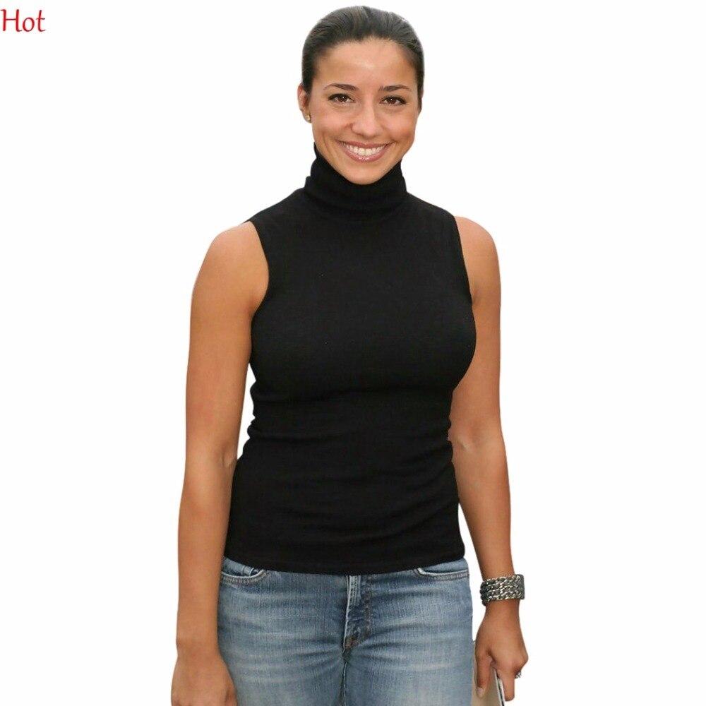 Mode chaude Femmes Tortue T-shirts Sans Manches Solid Slim Stretch Slim Équipée T-shirts Casual Sexy T-shirts Tops Blanc Noir SV026975