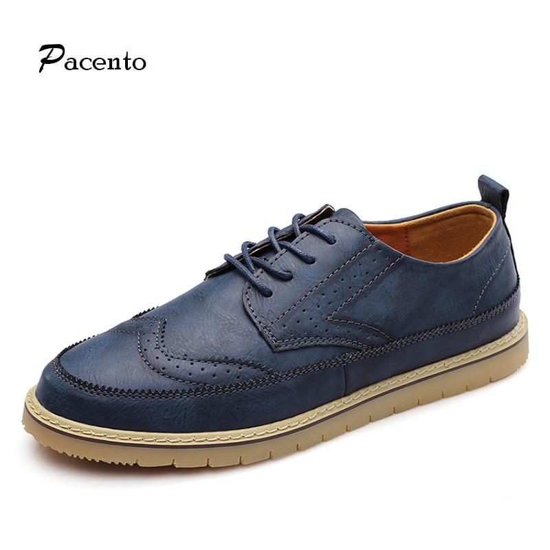 Brogues Mens Shoes Vintage Color Block Large Size Men