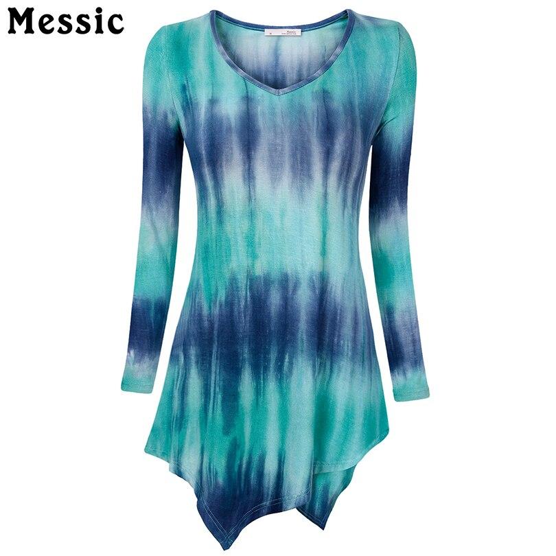 Messic Handkerchief Hem Line Women Long Sleeve Shirts Tie Dye