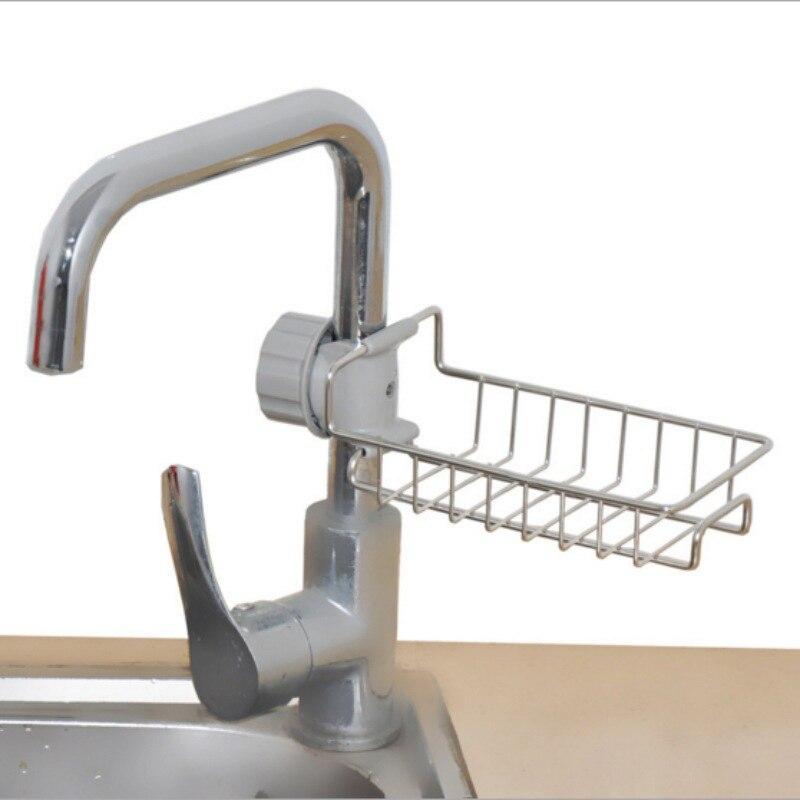 Torneira De Cozinha Em Aço inoxidável Titular Esponja Adjustbale Pia Caddy Organizador Escova Sabão Líquido de Lavar Louça Escorredor Rack de Armazenamento