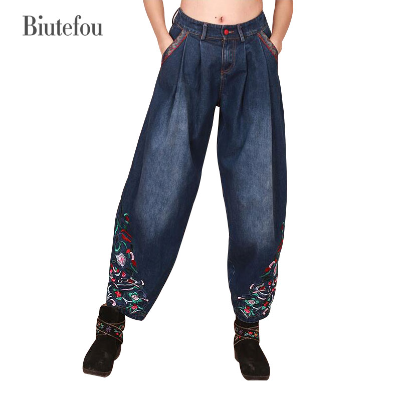 2017 embroidery fashion women jeans spring elastic cotton ankle-length loose ladies wide leg pants 2017 spring new women sweet floral embroidery pastoralism denim jeans pockets ankle length pants ladies casual trouse top118