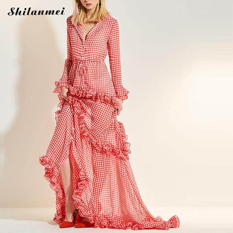 Robe en mousseline de soie à manches longues à volants robe longue à carreaux rouge femmes 2019 automne hiver dames haute rue mode fête longue robe