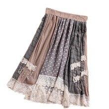 Винтажная хлопковая льняная эластичная короткая юбка с высокой талией, женская летняя юбка с цветочным принтом, Женская Лоскутная кружевная драпированная юбка в стиле Лолиты Y03551