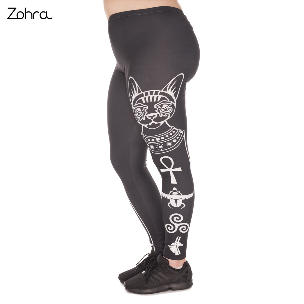 Zohra Hot S Large Size Leggings Egyptian Cat Printed High Waist Leggins Plus Size Trousers Stretch Pants For Plump Women
