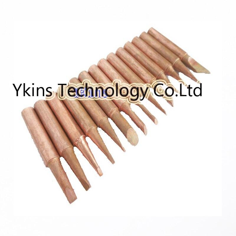 15pcs/set Lead-free Red copper Pure cupper Solder tip 900M-T For Hakko 936 FX-888D Saike 909D 852D+ 952D Diamagnetic DIY