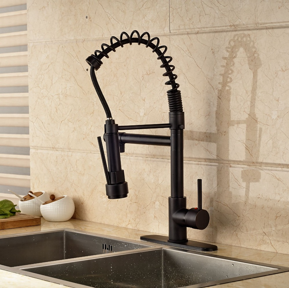 Newly Oil Rubbed Bronze Kitchen Faucet Deck Mounted One Hole Pull Down Spout With 8 Cover Plate black oil rubbed bronze wall mounted toothbrush holder with two ceramic cups wba143