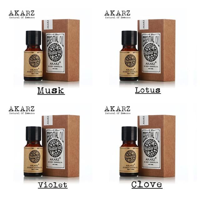 Akarz известный бренд чистого мускуса лотоса Фиолетовый Эфирное Масло гвоздики пакет для ароматерапии, массаж, спа, Ванны 10 мл * 4