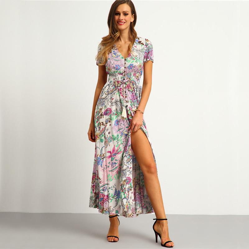 d3d2011161b4b5 SheIn Womens Summer Maxi Dresses New Arrival Ladies Boho Dress Sleeveless  Blue Halter Neck Floral Print Vintage A Line DressUSD 34.95/piece