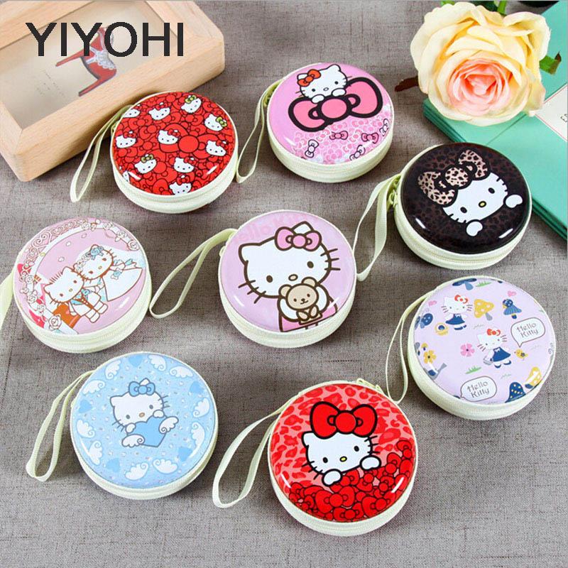 YIYOHI New Women Kawaii Mini Bag Cartoon Hello Kitty  Coin Purse kids Girls Wallet Earphone Organizer Box Bags Christmas Gift