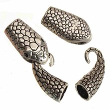 diy bracelets clasps toggles hooks connectors animal snake 6mm round large hole silver metal jewelry findings 40*12*8mm 7 sets