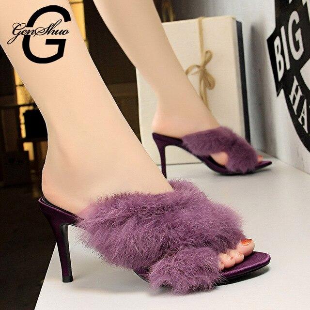 GENSHUO Sandals Women Summer Shoes Open Toe High Heels Fur Sandals Black Purple Small Size 34