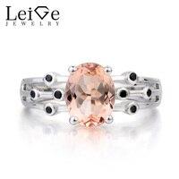 Лейдж Jewelry натуральный розовый морганит Кольцо овальным вырезом Обручение кольцо розовый Драгоценное кольцо твердого 925 Серебряное кольцо