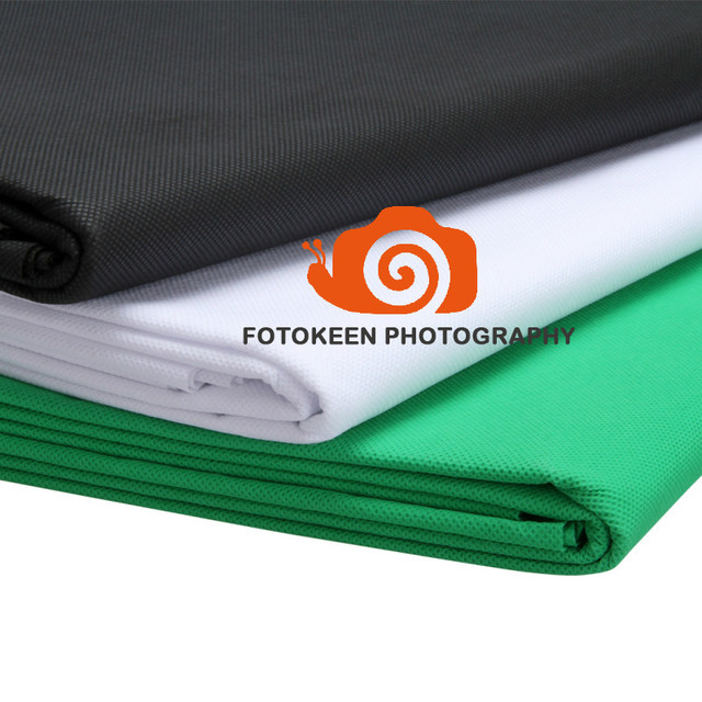 1.5*3M/5 x10FT Photography Studio Non-woven Cloth Backdrop,Chroma Key Solid Color Fabric Background,Black White Green(optional)