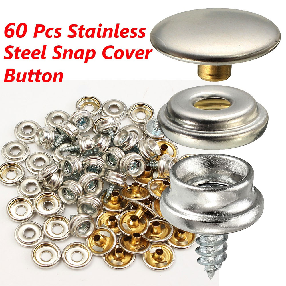 Black Cap Marine Canvas Fabric Cover Snap Button Kit 12//pk