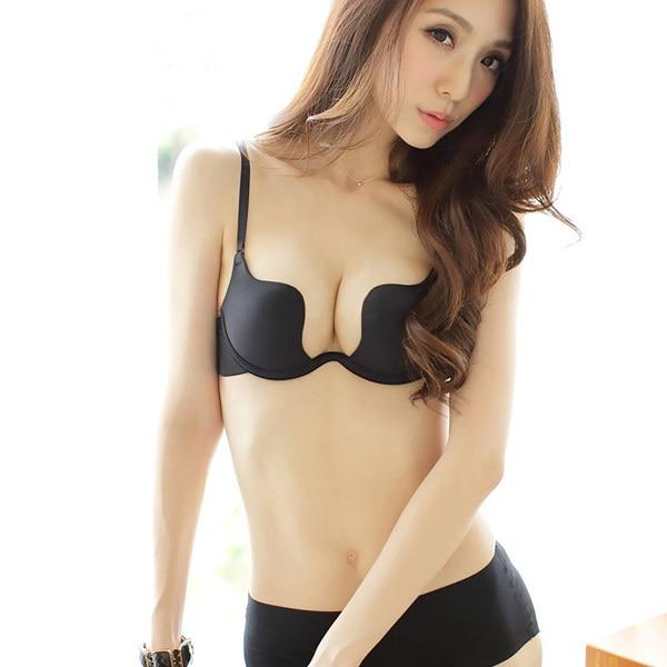 0b85f885ad W cup underwear bra deep U ultra low-cut halter rope chest to wear  halter-style wedding dress