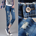 Autumn casual plus size women's hole jeans ankle length trousers female straight pants