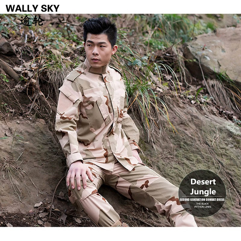 Mens Airsoft Uniform Sniper Tactical Army Military Uniform Desert Sand Combat Jacket CS Sets Jacket+Pants camouflage suit sets army military uniform combat airsoft war game uniform jacket pants uniform