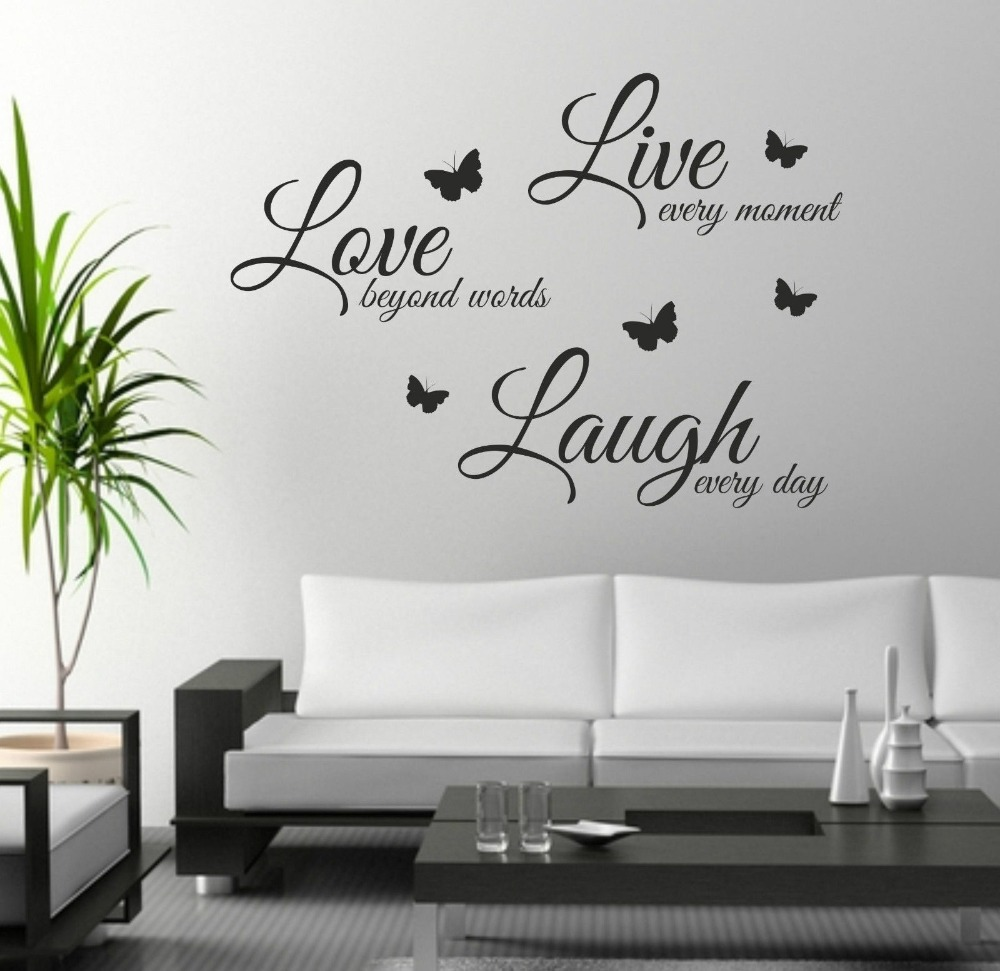 FoodyMine Live Laugh Love wall art sticker quote wall decor wall decal  words butterflies(China