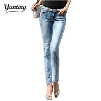 2018 New Fashion Women Pants, Stretch Skinny Low Waist Jeans Pants Women Blue Pencil Casual Slim denim Pants