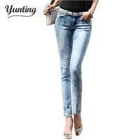2019 New Fashion Women Pants, Stretch Skinny Low Waist Jeans Pants Women Blue Pencil Casual Slim denim Pants