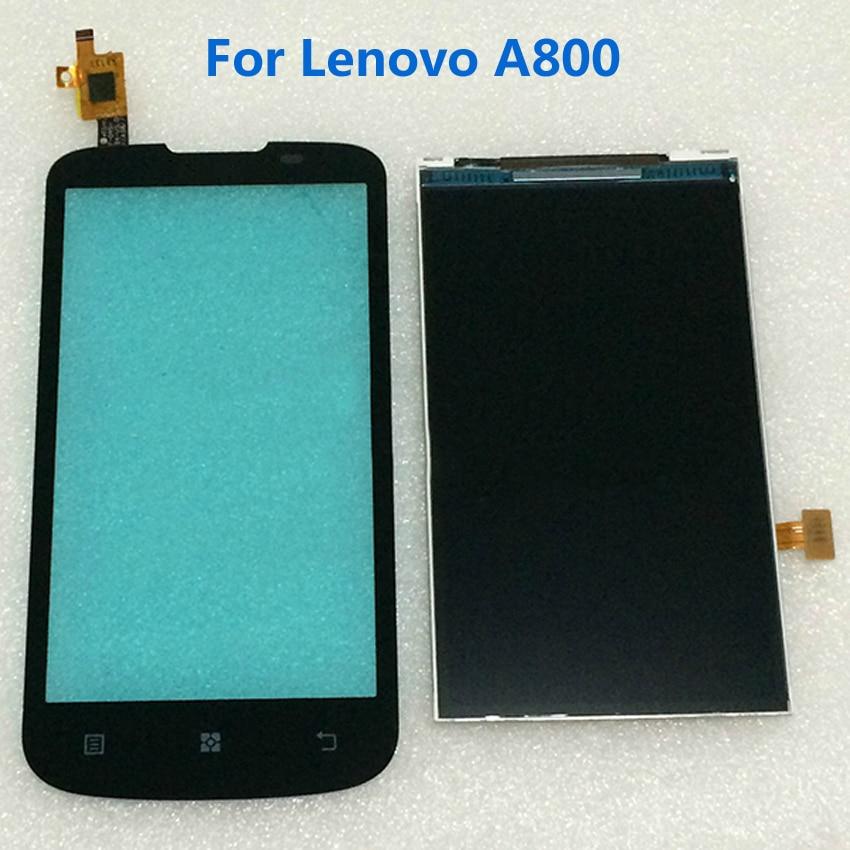 100% a prueba de trabajo negro a800 pantalla lcd + outer pantalla táctil sensor de reemplazo del digitizador para lenovo a800 del teléfono móvil