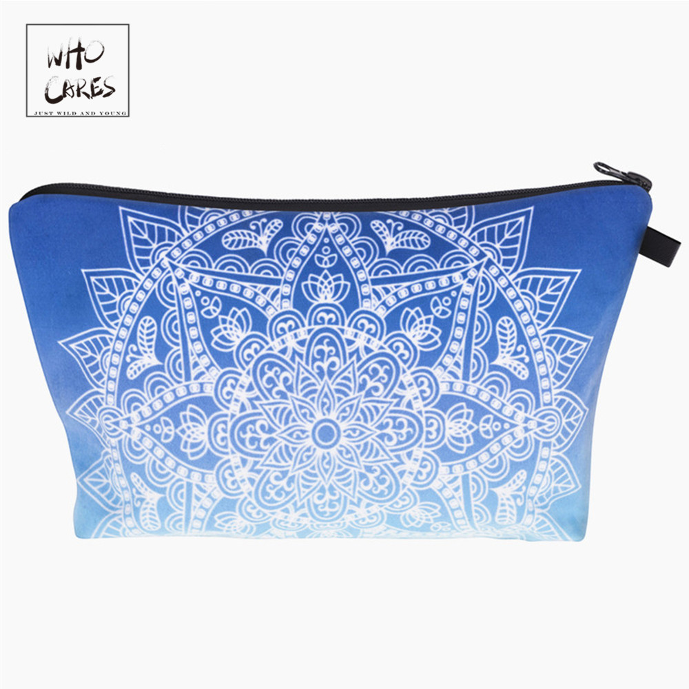 Who Cares printing mandala ombre blue Makeup Bags Cosmetic Organizer Bag Pouchs For Travel