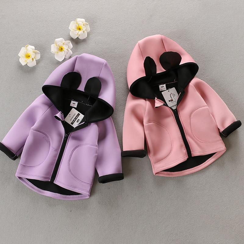 2016 new spring autumn Girls Kids Boys Cartoon Ears Zip Cardigan Coats Hoodied Jacket baby Clothes