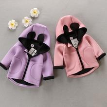 2016 nouveau printemps automne Filles Enfants Garçons de Bande Dessinée Oreilles Zip Cardigan Manteaux Hoodied Veste bébé Vêtements Enfants Vêtements
