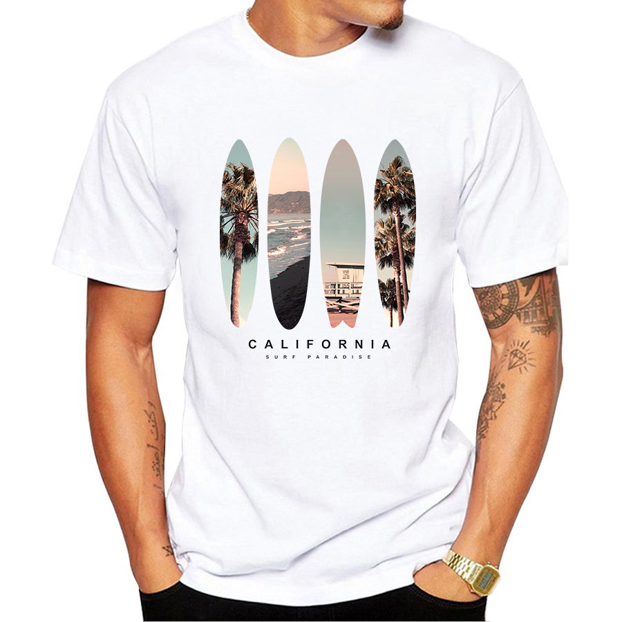 Vintage California Beach Scenery Printing Men T Shirt Short Sleeve Casual Tee Shirts Hipster Cool Tops Retro T Shirt O207-in T-Shirts from Men's Clothing