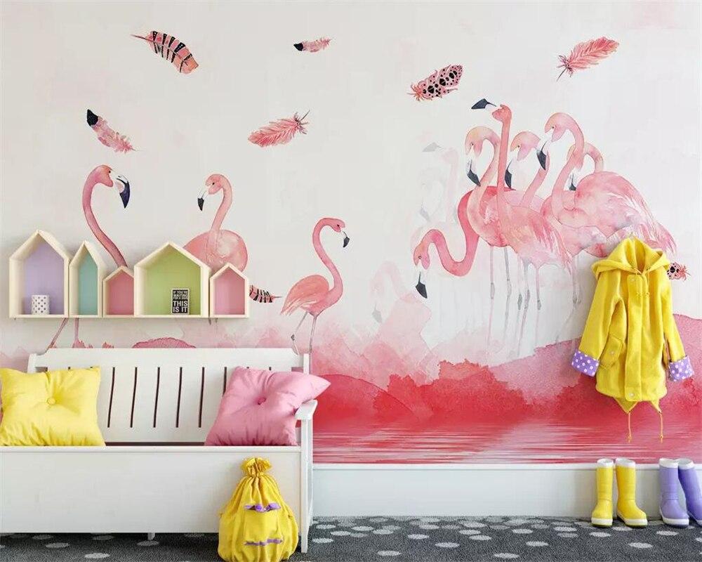 Купить с кэшбэком beibehang Simple hand-painted flamingo feather wallpaper children's room background wall living room bedroom mural 3d wallpaper