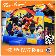 Inflatable Jumper Justice League Theme, Commercial Combo Bouncer , New Bouncer Castle