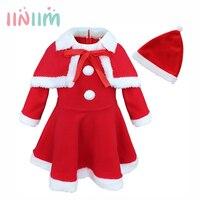 Nouveau Filles De Noël Santa Claus Costume Genou-Longueur Robe avec Châle Chapeau Tenues Party Set pour des Cadeaux De Noël Taille 12 M-3 T