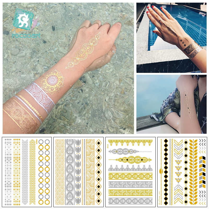 Modern Boho Flash Tattoo Gold Silver Bracelet Temporary Metallic Fake Chain Tattoos Wrist ArmBands Bling Tattoo Bracelet Leaves