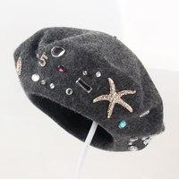 Wholesale Female Winter Headwear Beautiful Starfish Rhinestone Woolen Knitted Caps Women Fashion Pure Wool Beret Hats