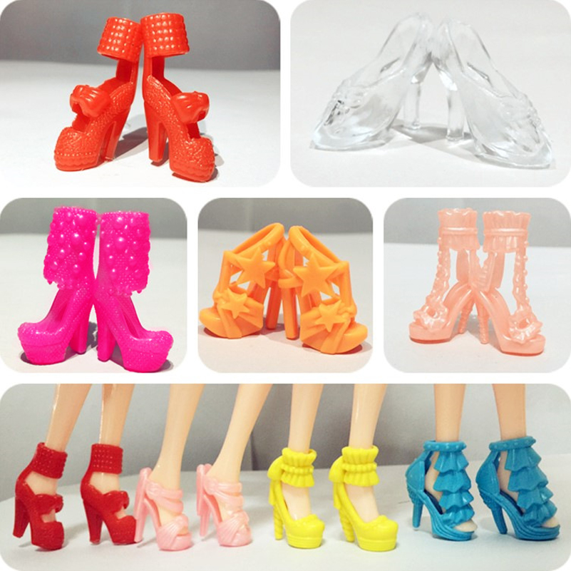 10pair/lot Princess Baby Doll Shoes High Heels Fashion High-heeled Shoes Boots Sandals Dolls Accessories Toys For Girls Gifts 500pairs lot wholesale high quality high heel shoes for 30cm dolls mixed styles sandals slippers 10pairs pack doll shoes pack