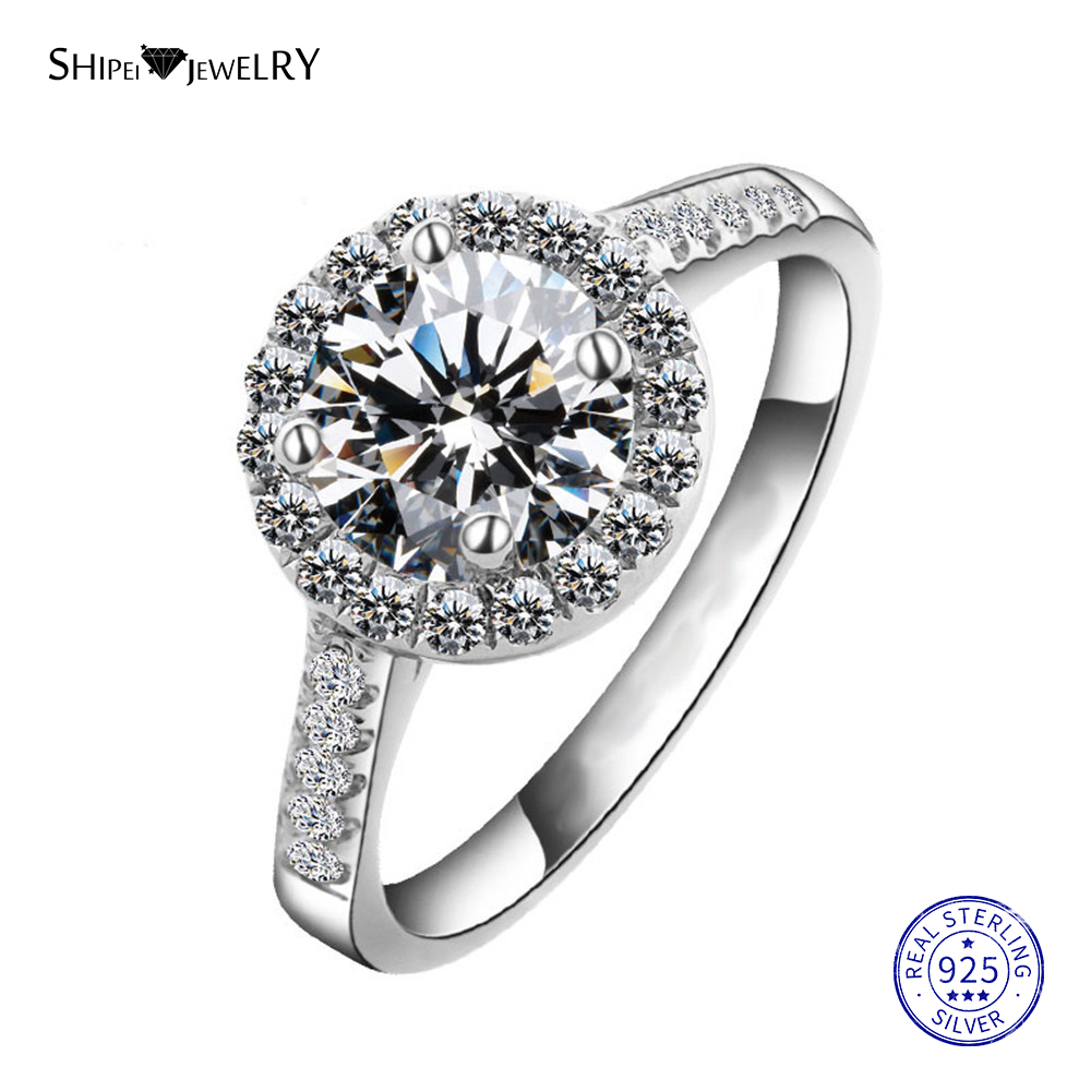 Shipei Round 8mm Created Moissanite Ring For Women Real 100% 925 Sterling Silver Engagement Promise Ring Anniversary Gift
